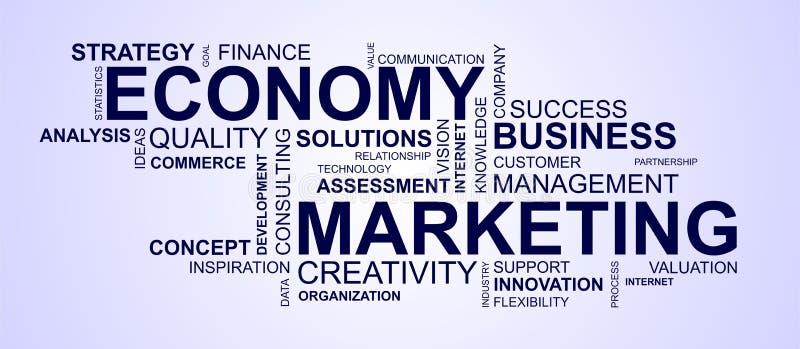 Wordcloud dla wprowadzać na rynek i gospodarki royalty ilustracja