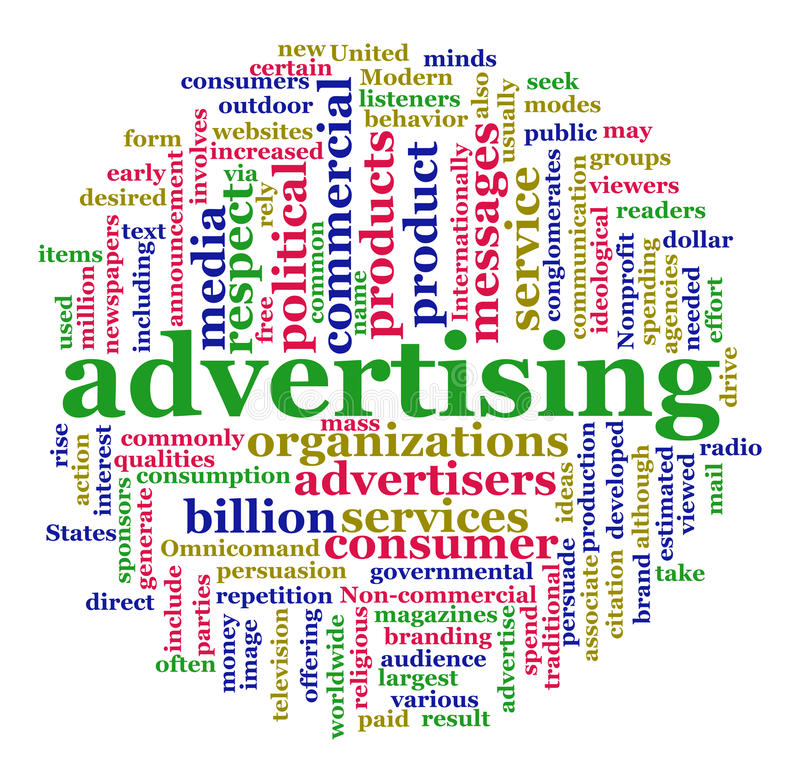 Wordcloud do anúncio ilustração stock
