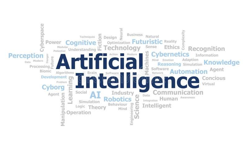 Wordcloud för konstgjord intelligens stock illustrationer