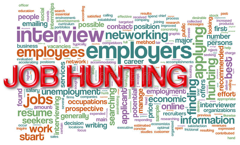 Wordcloud of job hunting royalty free illustration