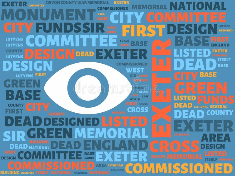 Wordcloud with the main word exeter and associated words, abstract illustration. Word cloud vector illustration