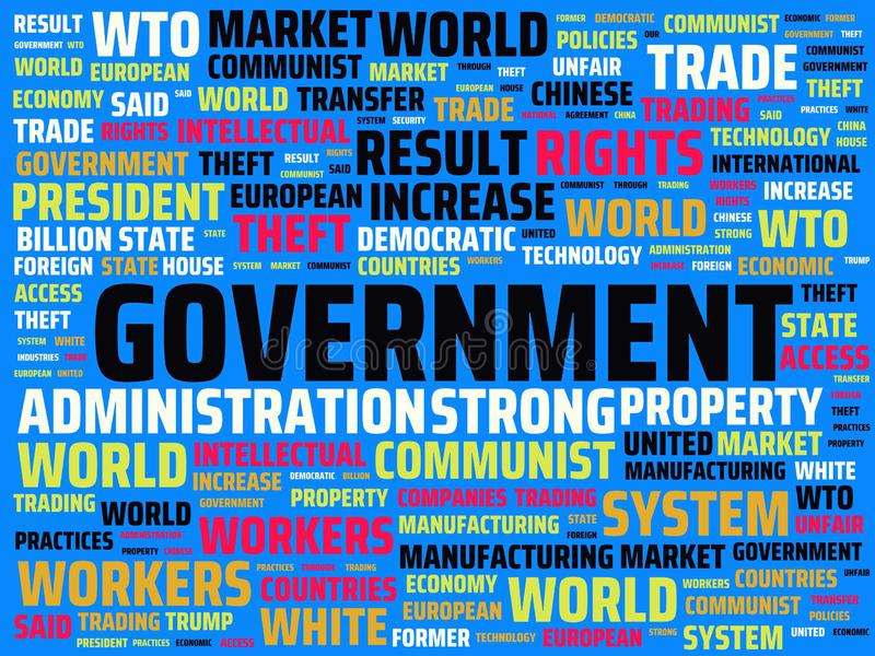 Wordcloud with the main word government and associated words, abstract illustration. Wordcloud with main word government and associated words, abstract stock illustration