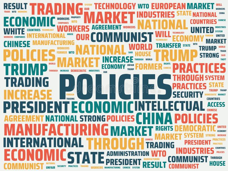Wordcloud with the main word policies and associated words, abstract illustration. Wordcloud with main word policies and associated words, abstract illustration vector illustration