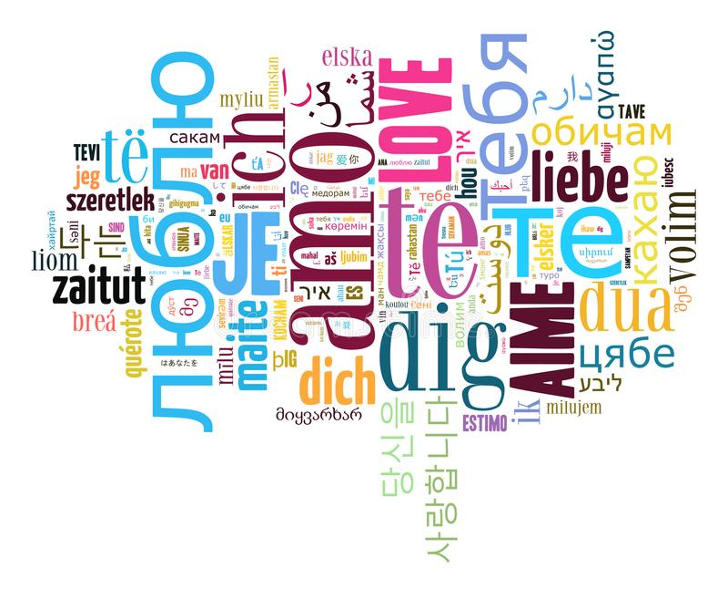 Wordcloud miłość ty w różnych językach ilustracja wektor