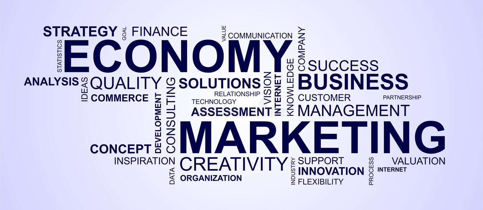 Wordcloud para o mercado e a economia fotografia de stock royalty free