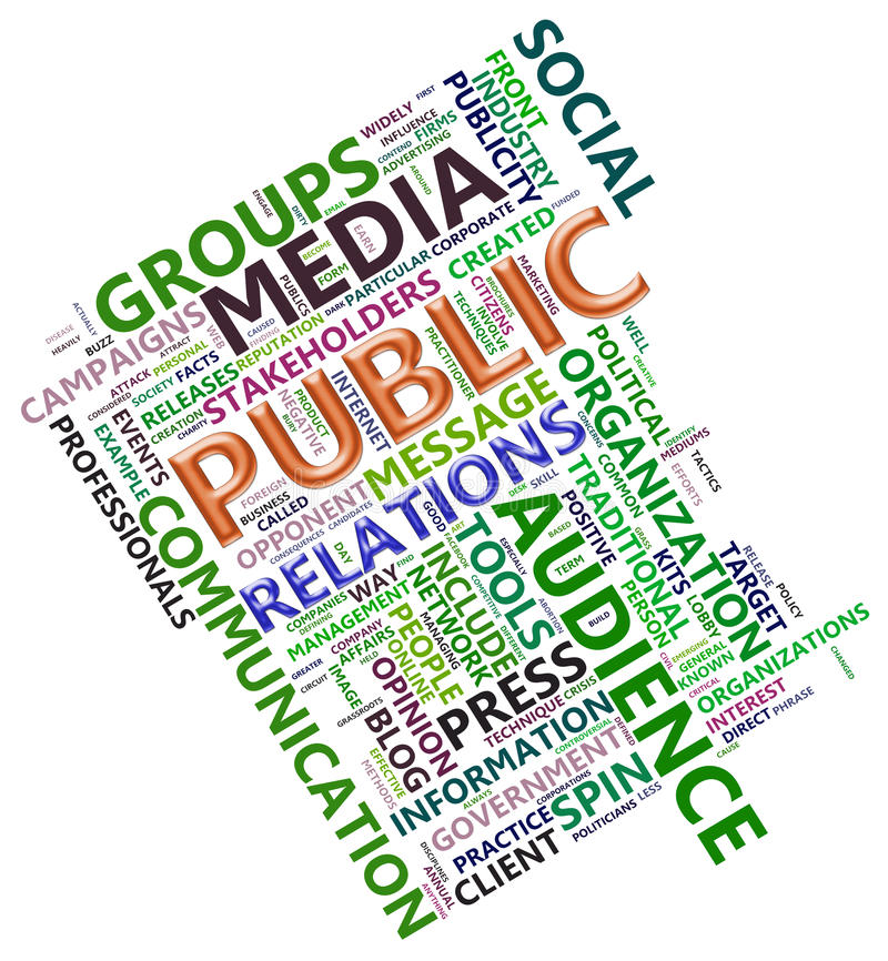 Wordcloud of public relation. Wordcloud related to word public relation vector illustration