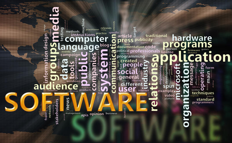 Wordcloud of'software'. Illustration of wordcloud related to word'software