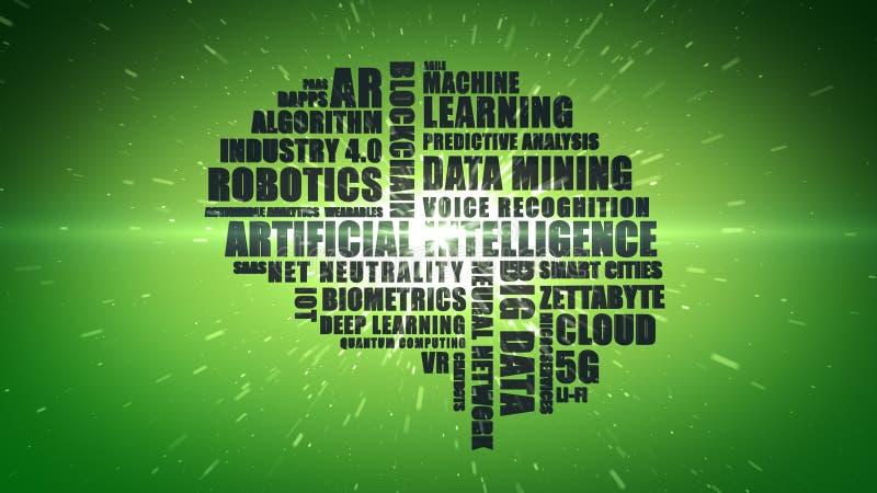 Wordcloud verde da buzzword da tecnologia para a inteligência artificial imagens de stock royalty free
