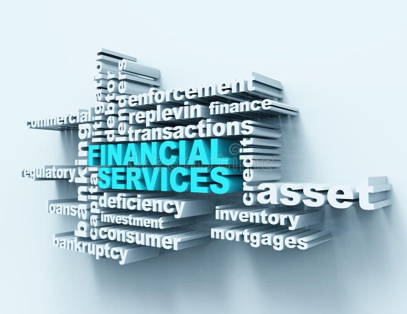 Wordclouds de services financiers illustration libre de droits