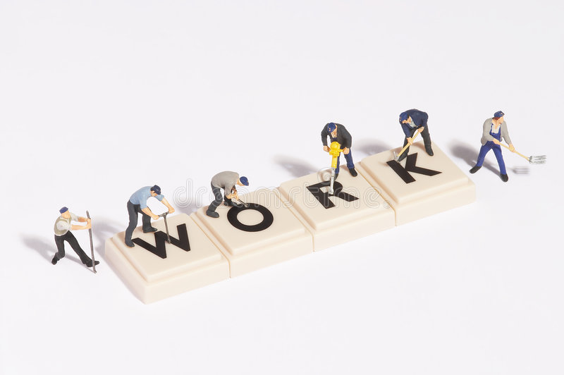 Wordgames- work stock images
