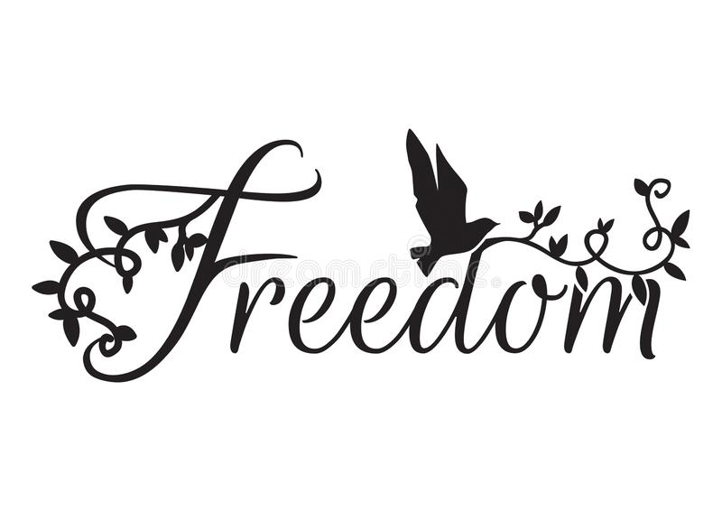 Wording Design, Freedom, Wall Decals royalty free illustration