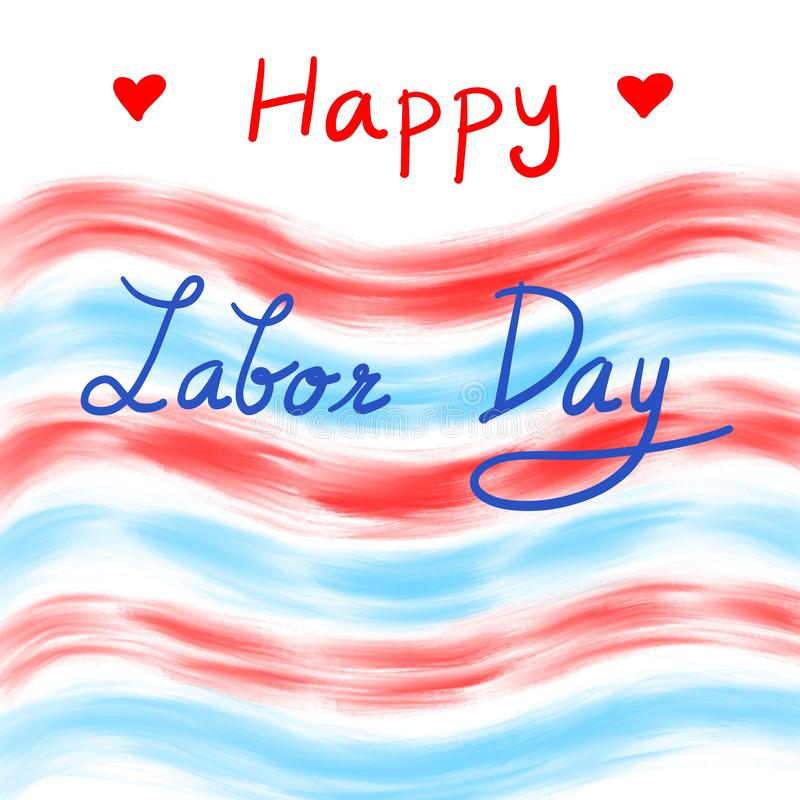 Wording Happy Labor Day on red and blue background. Copy space. Can be use for advertising, banner, brochure stock illustration