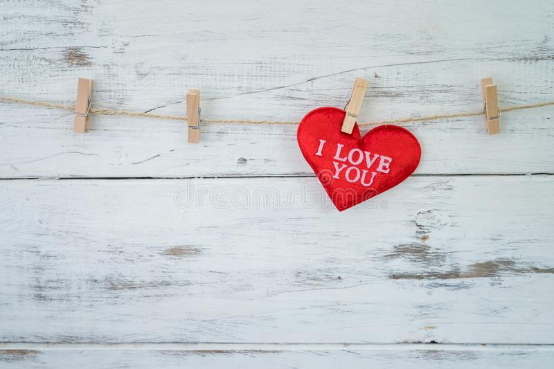 Wording I LOVE YOU on red heart stock photos