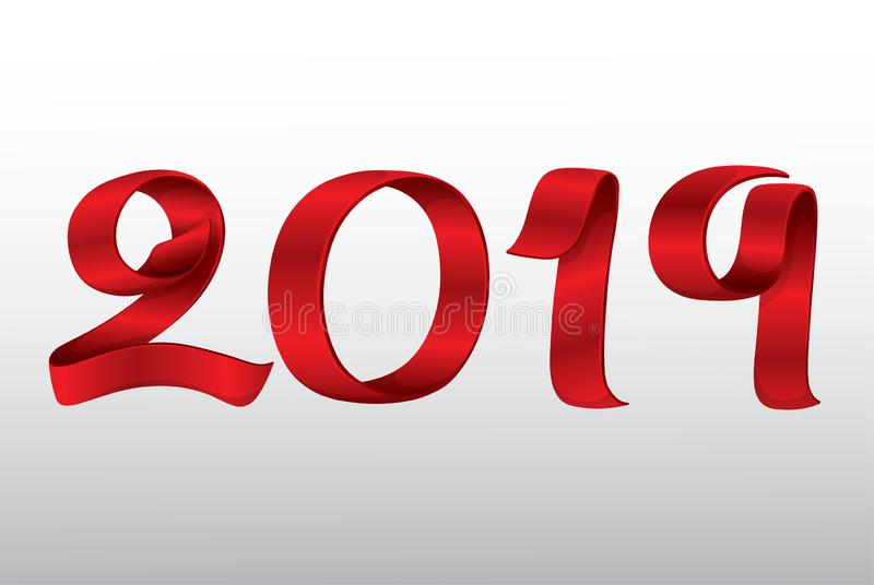 Vector Ribbon New Year 2019 royalty free stock photography