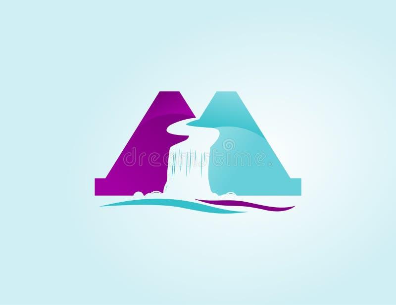 Wordmark a och a som avskiljs av vattenfallvektorn med mallen för eps-mapplogo stock illustrationer