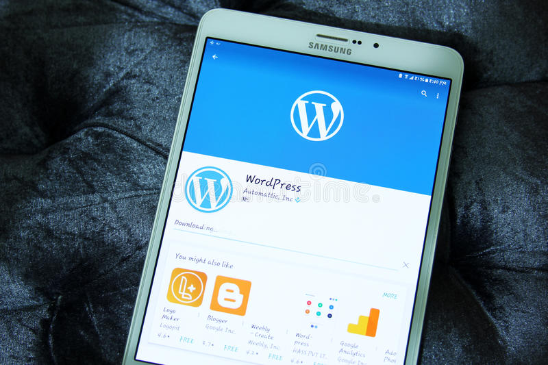 WordPress Android mobile app. Downloading WordPress Android mobile app from google play store on samsung tablet. WordPress for Android puts the power of stock photos