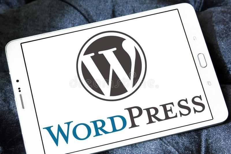 WordPress logo. Logo of WordPress on samsung tablet. WordPress is a free and open-source content management system CMS based on PHP and MySQL royalty free stock photo