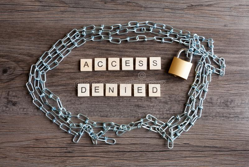 Access Denied with Padlock and Chain. Words - Access Denied with a locked padlock and chain royalty free stock photography