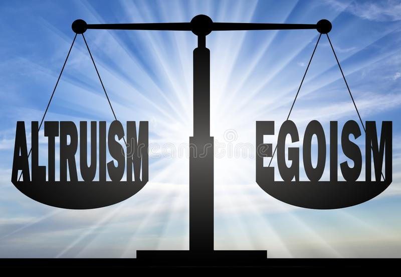 Words altruism and egoism on the scales of justice stock images