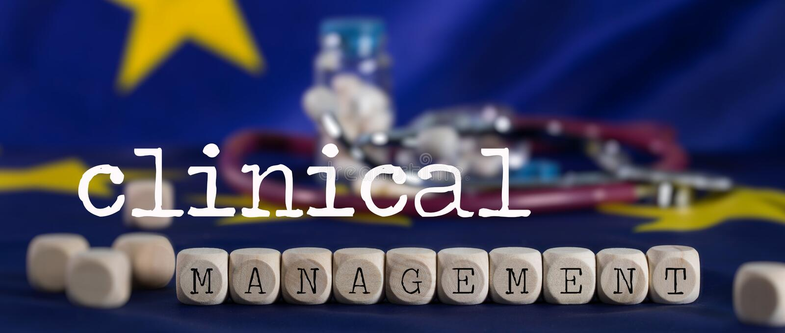 Words  CLINICAL MANAGEMENT  composed of wooden letter stock photos