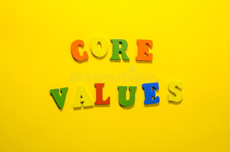 Words core values with wooden letters stock image