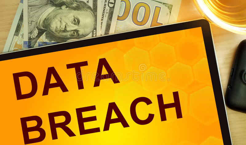 Words Data Breach on tablet. Data concept stock images