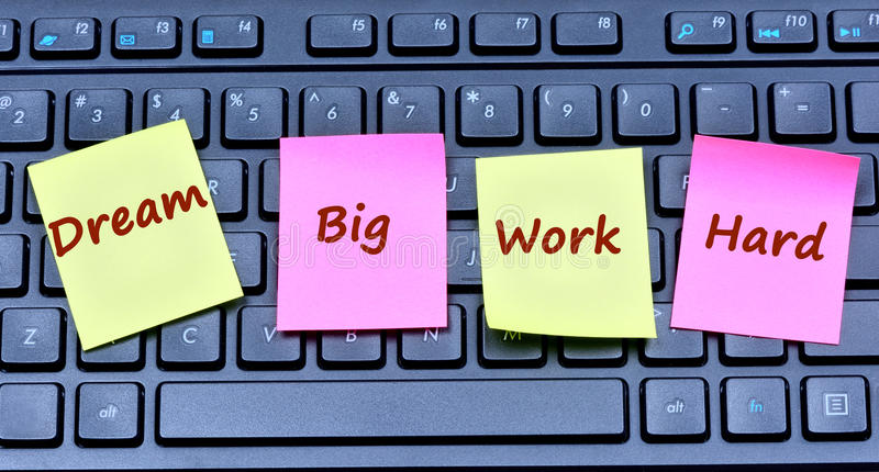 The words Dream big Work notes stock images