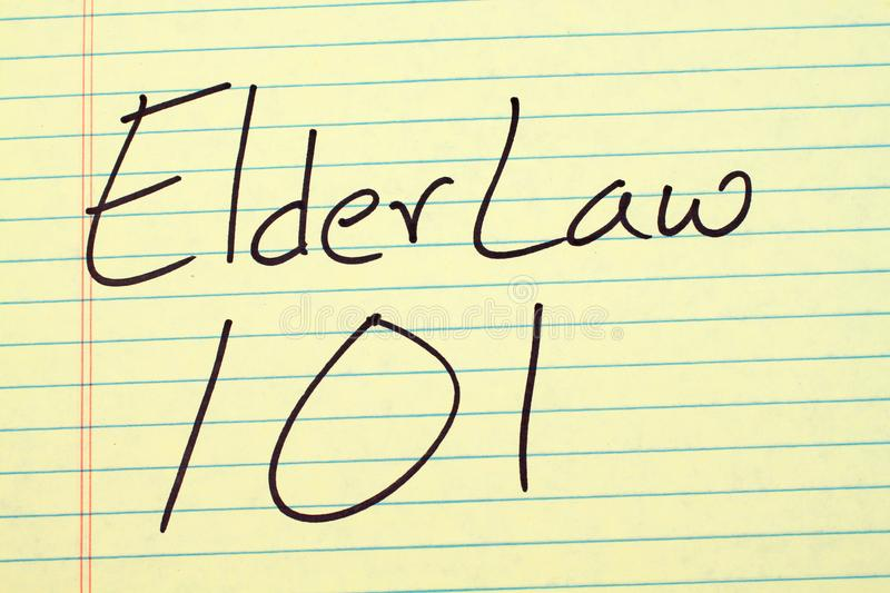 Elder Law 101 On A Yellow Legal Pad royalty free stock images