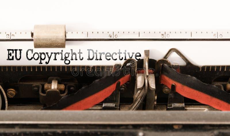 Words EU Copyright Directive written on vintage typewriter. Close-up of words EU Copyright Directive written on vintage typewriter stock photos
