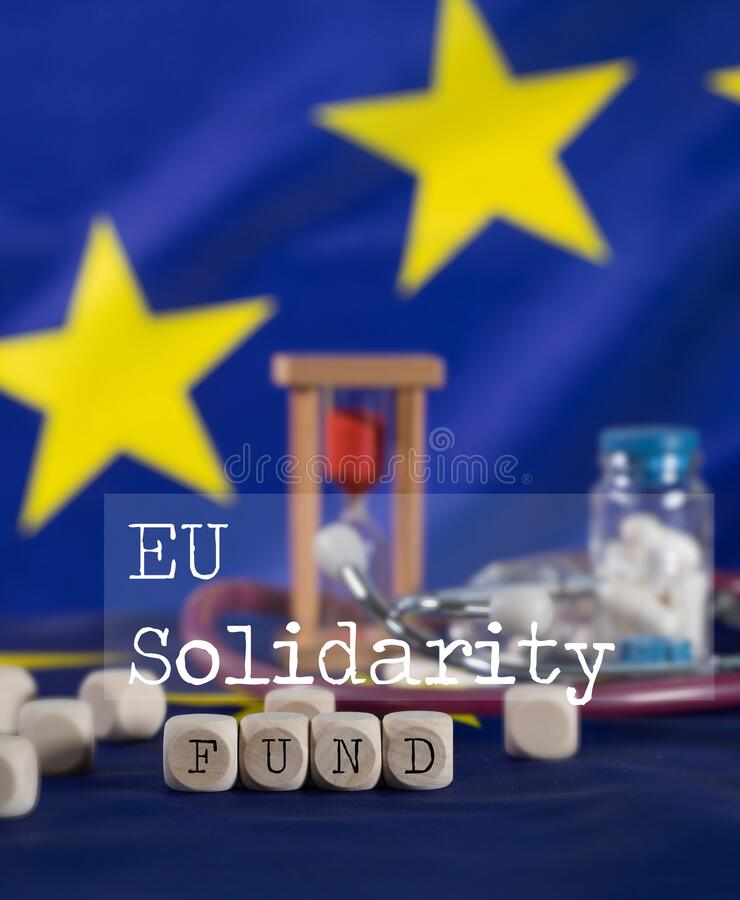 Words EU SOLIDARITY FUND  composed of wooden letters stock images