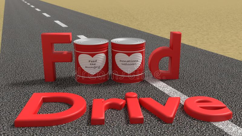 The words food drive on a road with tin cans vector illustration