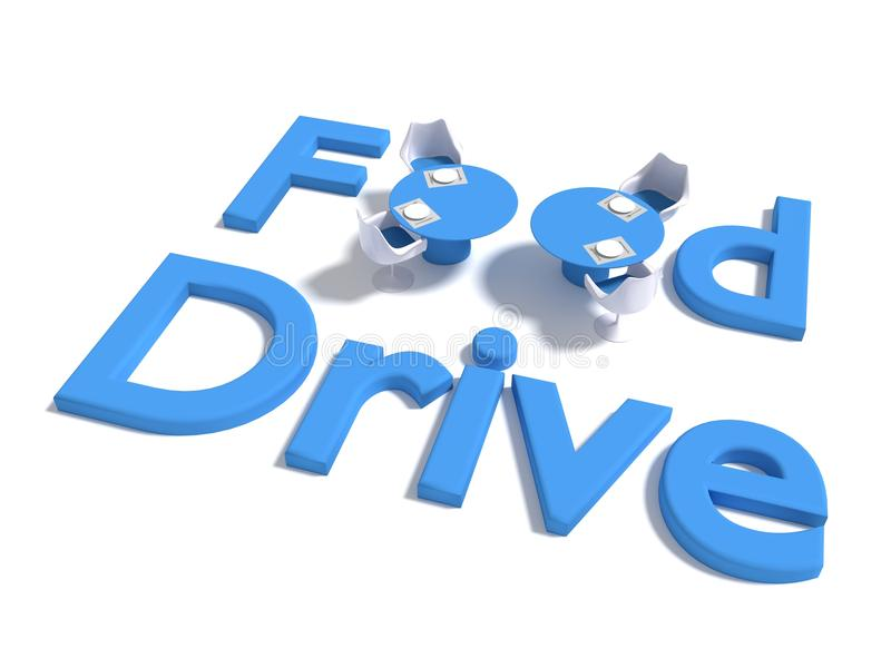 The words food drive on white where the o of food are replaced b stock illustration