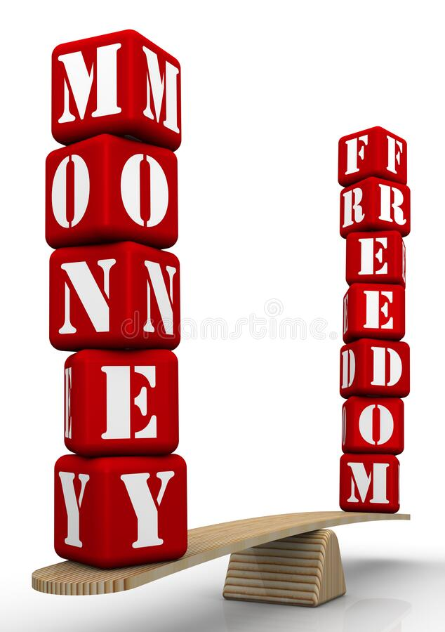 Freedom or money? Comparing on the scales. The words FREEDOM and MONEY made from red cubes labeled letters are weighed in the balance. The scales in the vector illustration