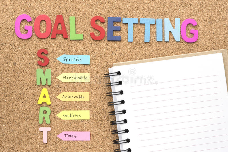 Words goal setting and smart with notebook stock images