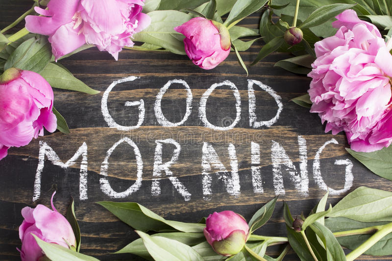 Words Good Morning with Pink Peonies royalty free stock image
