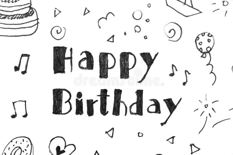 Words HAPPY BIRTHDAY and funny little pictures on white paper vector illustration