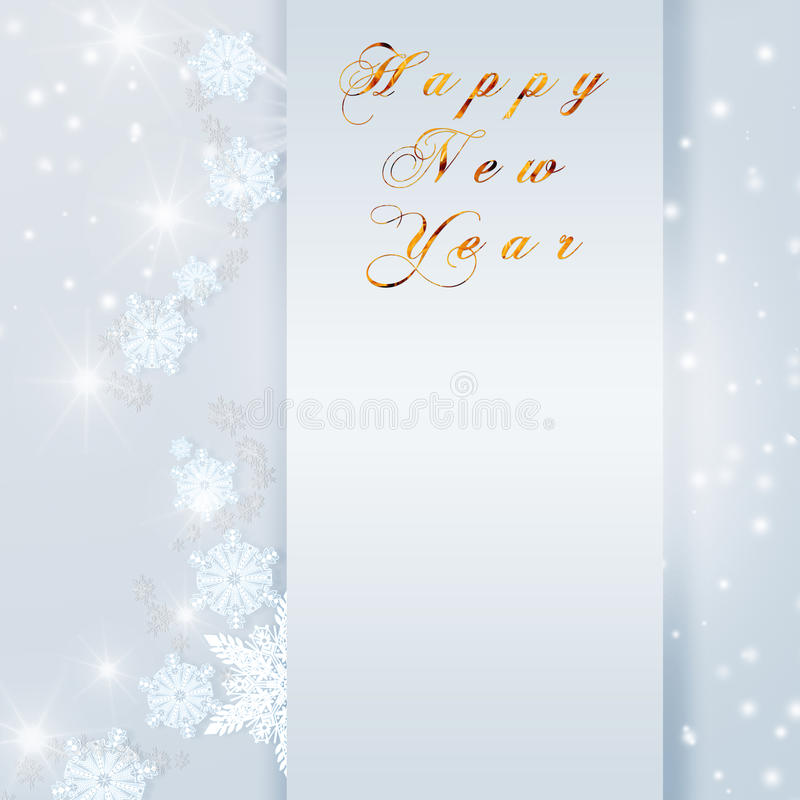 Words Happy New Year written on blue Christmas sparkly bright background. Christmas card with empty copy space.  royalty free illustration
