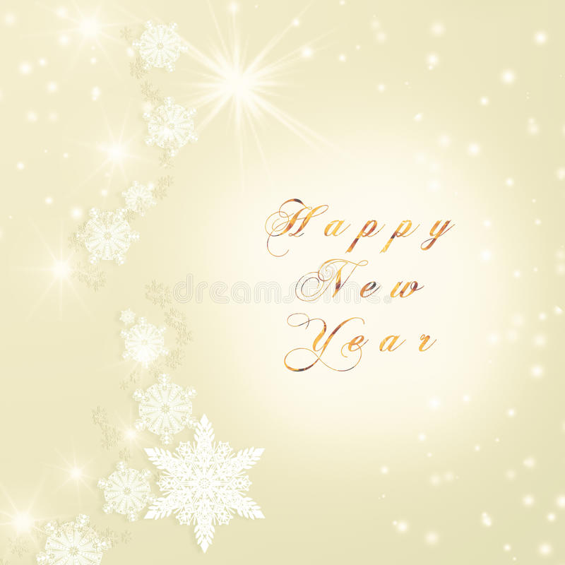Words Happy New Year written on golden Christmas sparkly bright background. Christmas card.  royalty free illustration