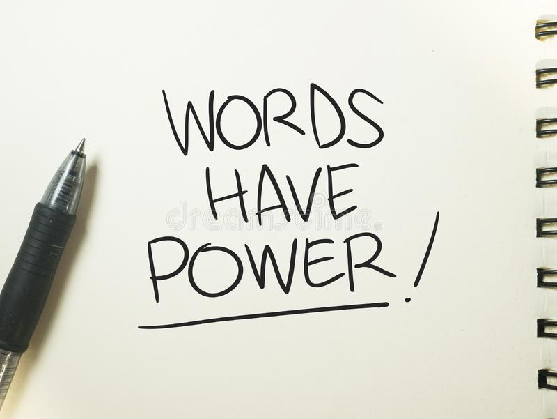 Words Have Power, Motivational Words Quotes Concept. Words Have Power, business motivational inspirational quotes, words typography lettering concept marketing stock photos
