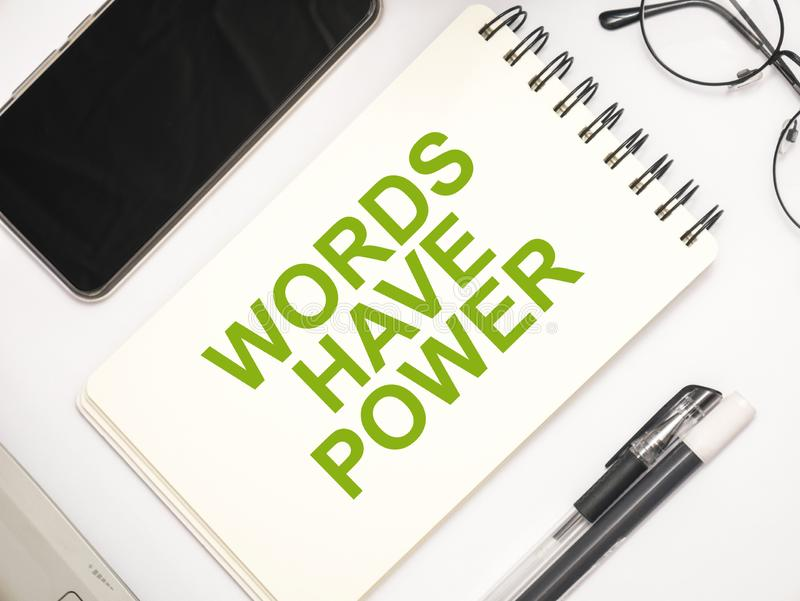 Words Have Power, Motivational Words Quotes Concept. Words Have Power, business motivational inspirational quotes, words typography lettering concept marketing royalty free stock images