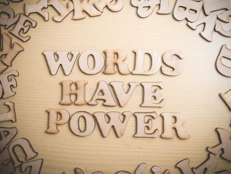 Words Have Power, Motivational Words Quotes Concept. Words Have Power, business motivational inspirational quotes, wooden words typography lettering concept stock image