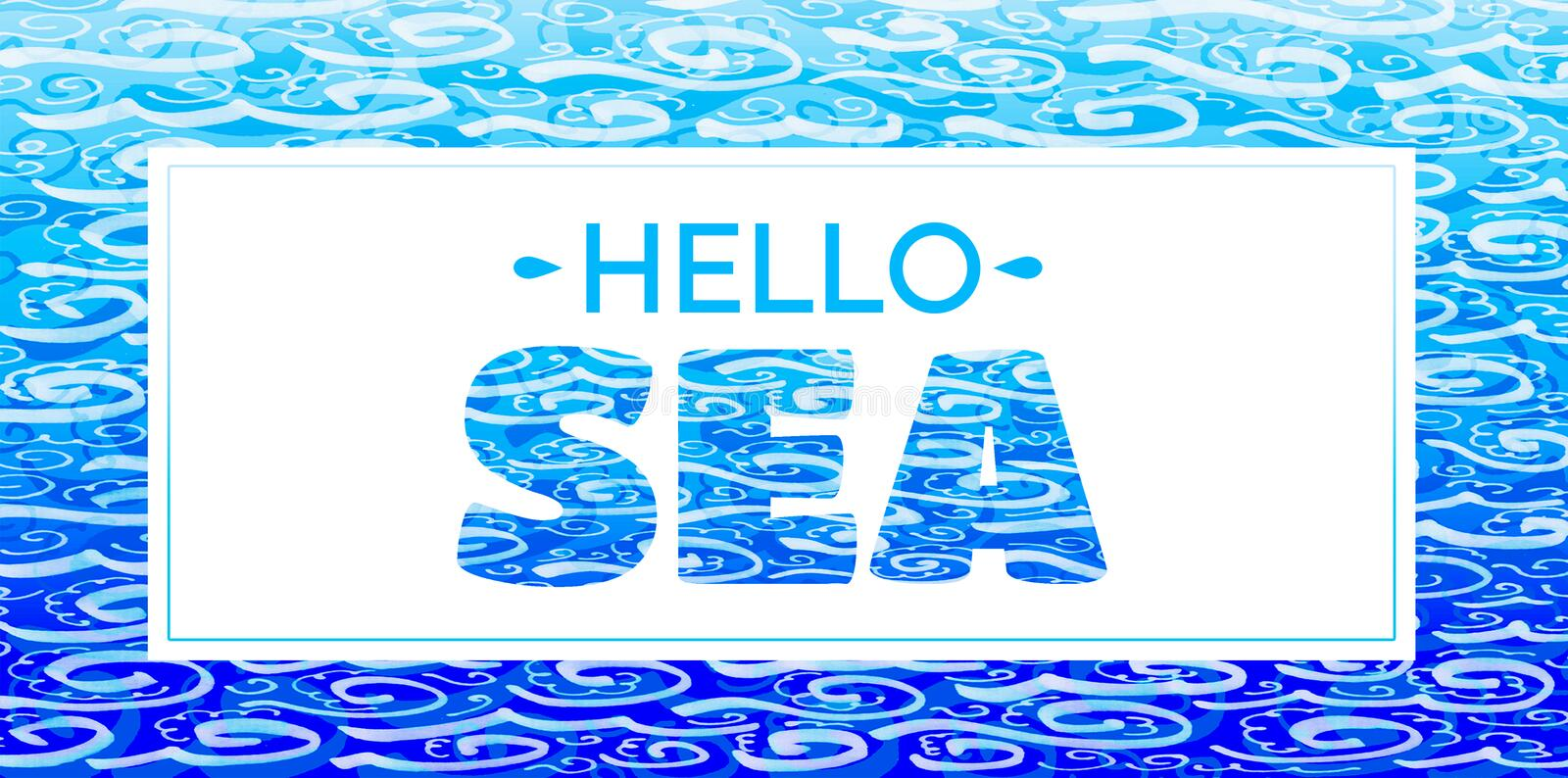 The words `Hello Sea`. Blue inscription on white background. stock illustration