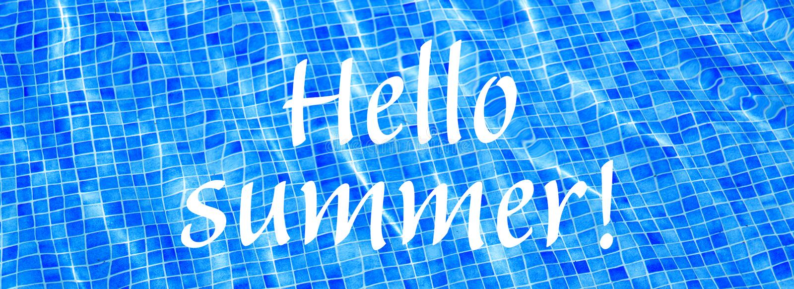 Words Hello Summer on blue ripped water background Swimming pool Summer vacation Banner royalty free stock photo