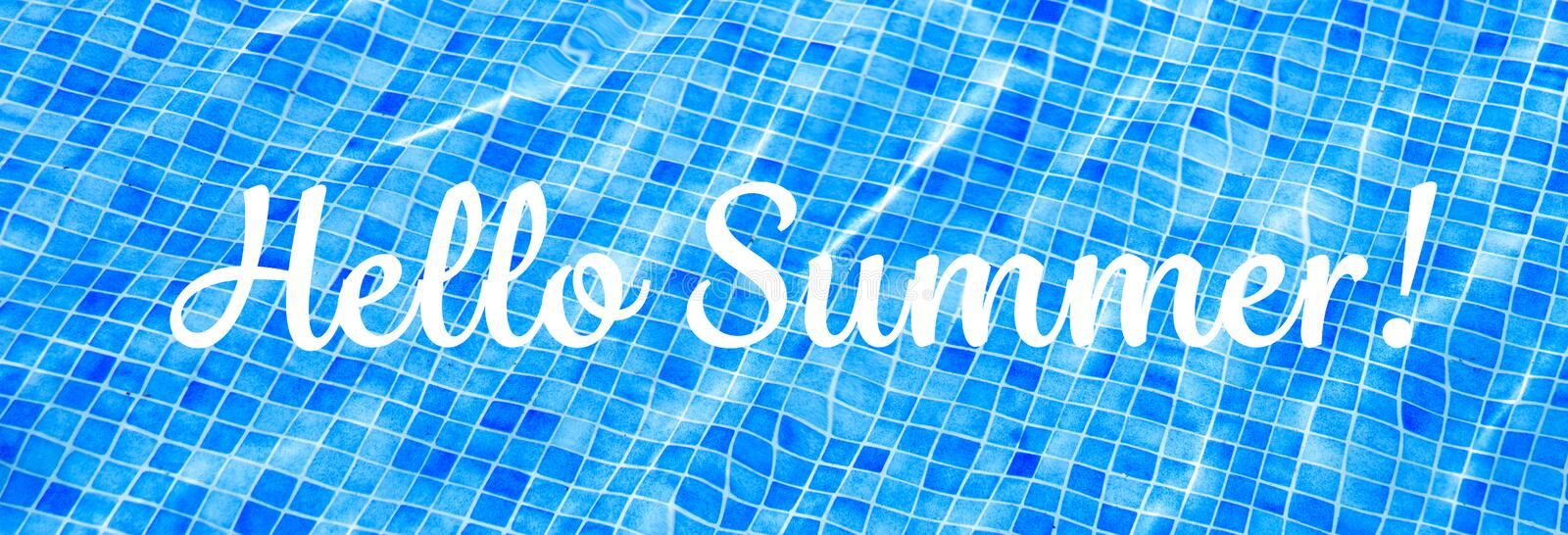 Words Hello Summer on blue ripped water background Swimming pool Summer vacation Banner stock images
