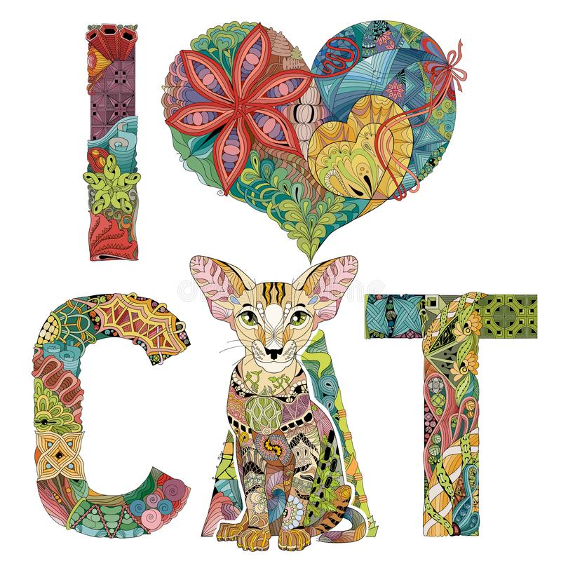 Free Words I LOVE CAT With A Figure Of Cat. Vector Decorative Zentangle Object Stock Images - 127397184