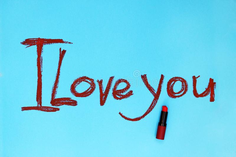 Words I Love you written by lipstick stock photos