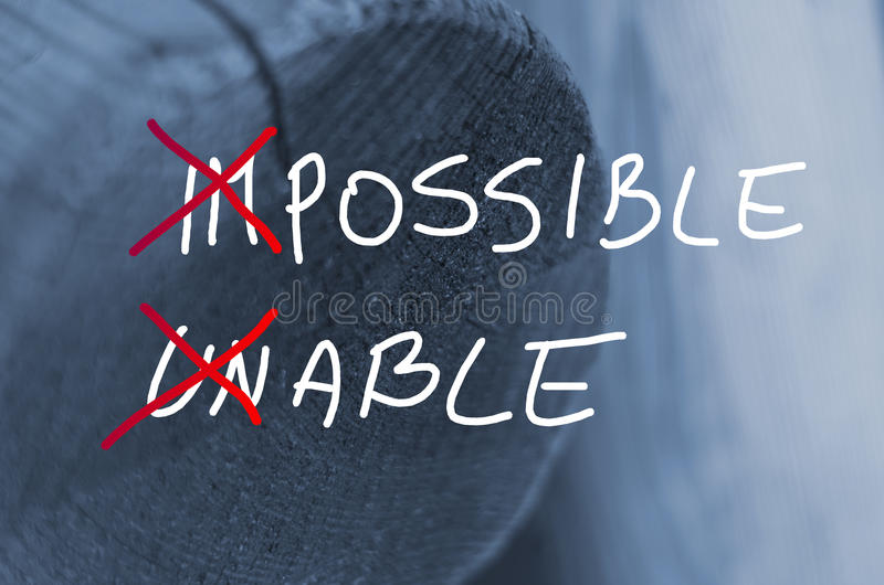 Words impossible unable concept handwritten on wooden log background.  stock images