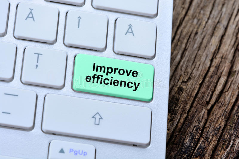 The words Improve efficiency on computer keyboard button stock photography