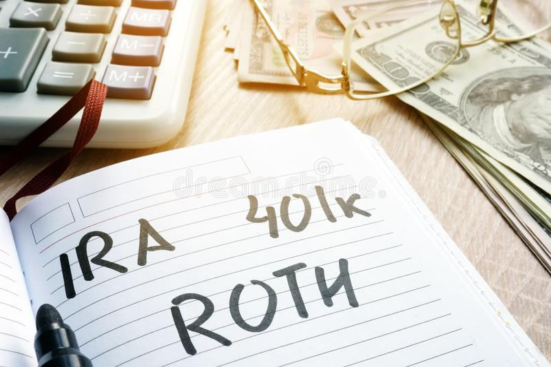 Words IRA 401k ROTH handwritten in a note. Retirement plans. stock images
