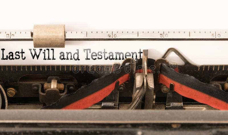 Words Last Will and Testament written on vintage typewriter royalty free stock photos